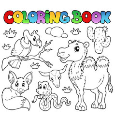 Coloring book desert animals 1 vector
