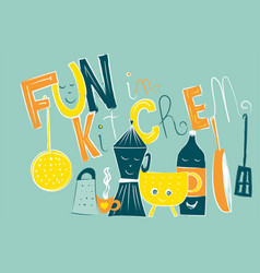 composition of fun object in kitchen isolated vector image