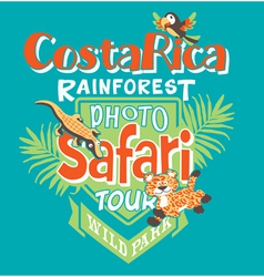 Costa Rica photo safari tour vector image