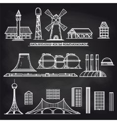 Country and city objects on chalkboard vector