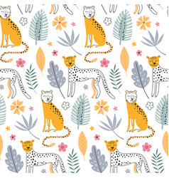 cute seamless pattern with leopard animals vector image