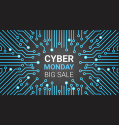 Cyber monday banner with circuit background big vector
