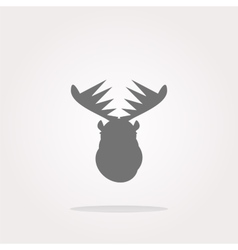 Deer head on web icon button isolated on vector