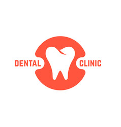 dental clinic with white tooth vector image