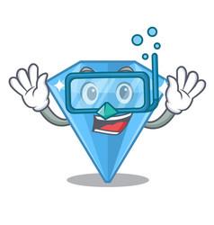 Diving sapphire gems in cartoon shape vector