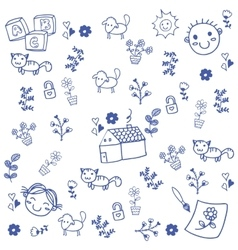 Doodle art leaves and animal vector image
