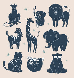 exotic animals silhouettes - set flat design vector image