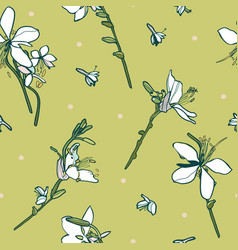 floral seamless pattern with white lily vector image