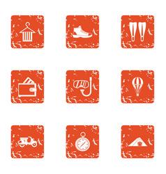 Frolic icons set grunge style vector
