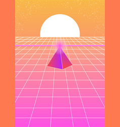 Futuristic landscape 1980s style with a pyramid vector