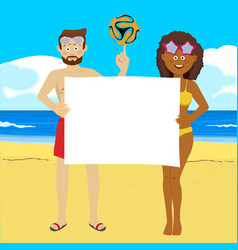 fyoung people with soccer ball on summer beach vector image