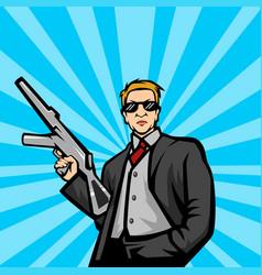 gangster with machine gun pop art style ill vector image