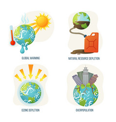Global warming and natural resource depletion vector