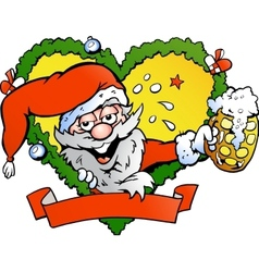 Hand-drawn of an drunk santa vector image