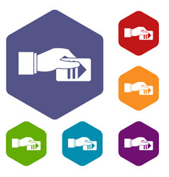 hand with parking ticket icons set vector image