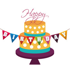 happy birthday cake decorative dots garland vector image vector image