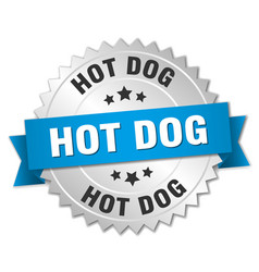 Hot dog 3d silver badge with blue ribbon vector