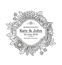 Invitation with chrysanthemum flowers vector