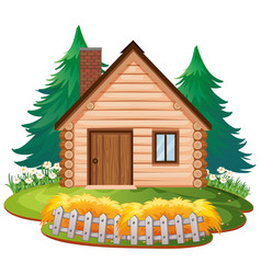 Isolated cottage in wood vector