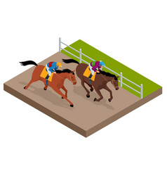 Isometric galloping race horses in racing vector