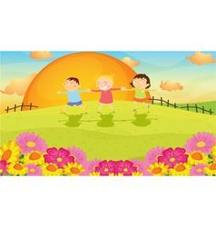 kids and landscape vector image