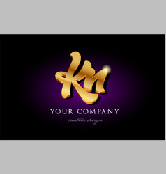kn k n 3d gold golden alphabet letter metal logo vector image