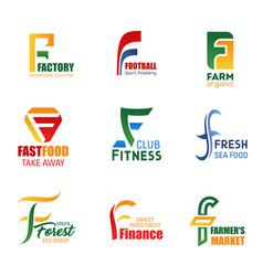 letter f icons for corporate identity vector image