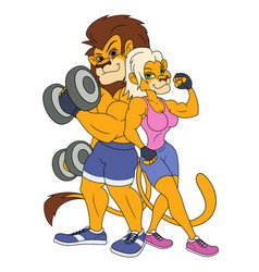 Lion and lioness posing vector