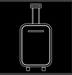luggage bag white color path icon vector image