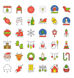 merry christmas icon set outline editable stroke vector image