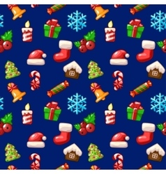 merry christmas seamless pattern set icons vector image