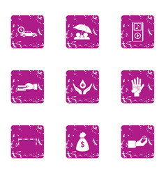 Middle class icons set grunge style vector