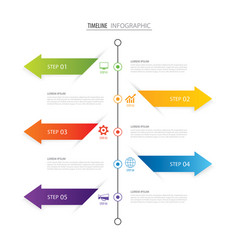 Modern 5 step infographic design template vector