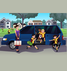 Mother driving kids to soccer practice vector