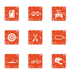 Moto icons set grunge style vector