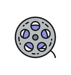 movie reel cinema roll film strip flat color vector image