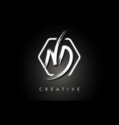 Nd n d brushed letter logo design with creative vector
