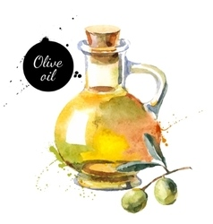 Olive bottle Hand drawn vector image
