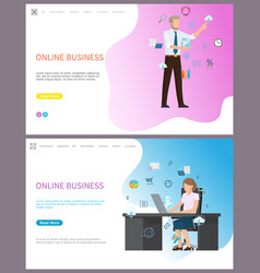 Online business businesswoman sitting in office vector