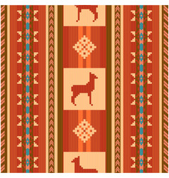 Ornamental ethnic pattern with lamas vector