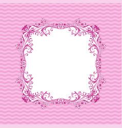 ornamental frame on purple wave background vector image