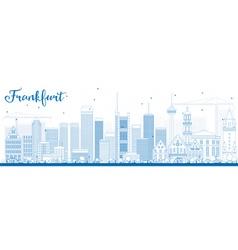 Outline Frankfurt Skyline with Blue Buildings vector