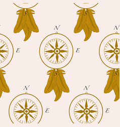 pattern design with golden compass and elegant vector image