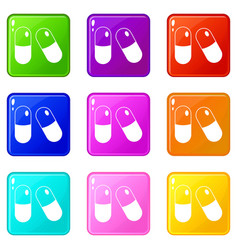 Pills icons 9 set vector