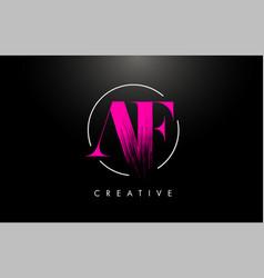 Pink af brush stroke letter logo design vector