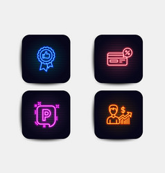 Positive feedback parking and cashback icons vector