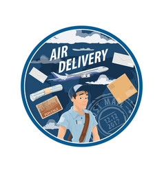 Post air mail delivery service mailman vector
