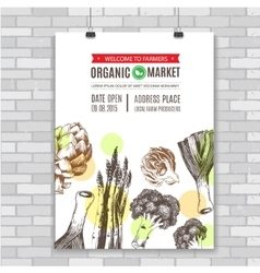 poster invitation for organic food market vector image