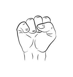raised hand showing a fist a symbol of strength vector image
