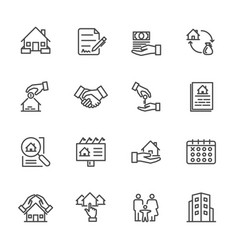 real estate of thin line icons for business vector image